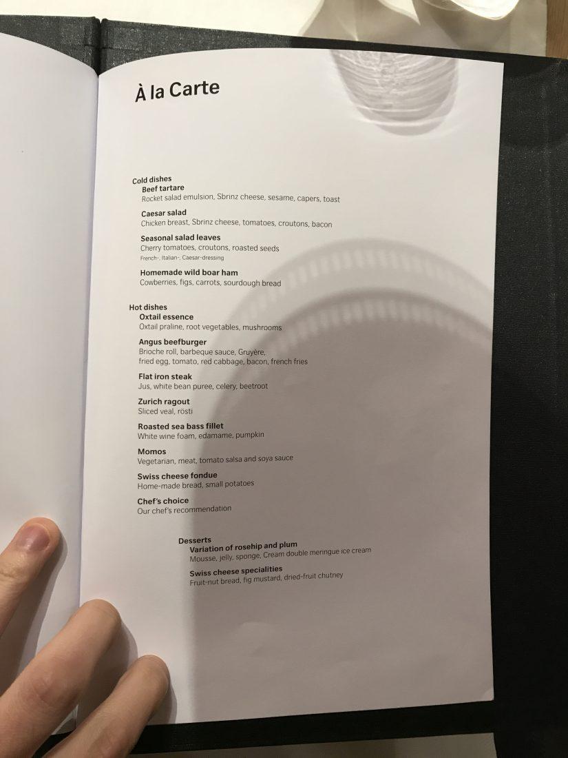 Swiss First Class Review Lounge A Gates Menu 6