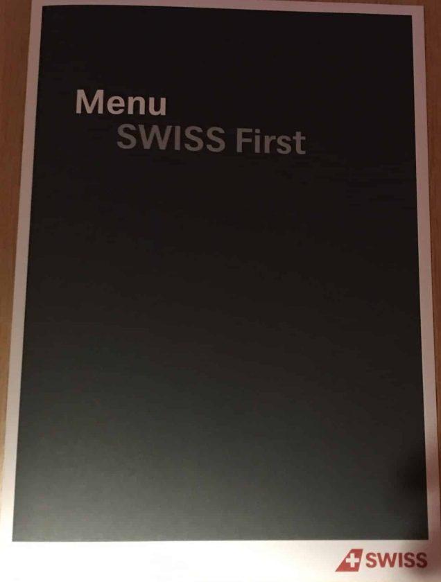 Swiss First Class Review Menu Seite 1