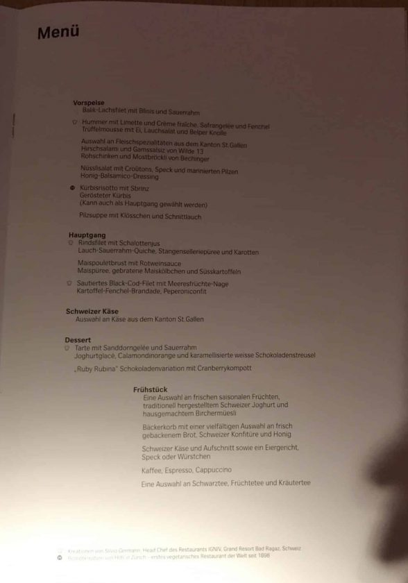 Swiss First Class Review Menu Seite 4 Deutsch