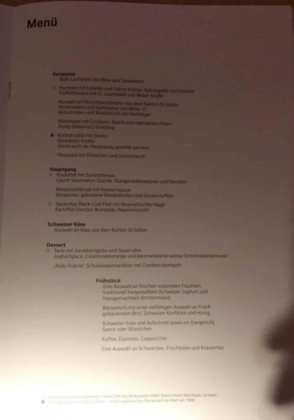 Swiss First Class Review Menu Seite 4 Deutsch