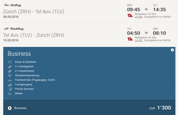 Mit Swiss von Zürich nach Tel Aviv für 1.300 CHF