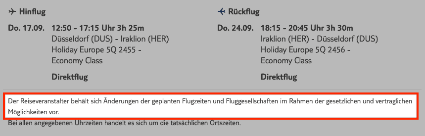 TUI Flugzeiten unverbindlich