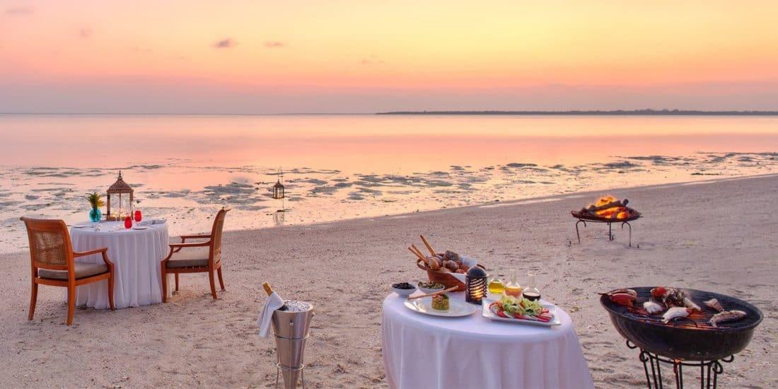 The Residence Zanzibar Luxus Dinner am Strand