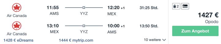 Travel DEalz AMS MEX Air Canada
