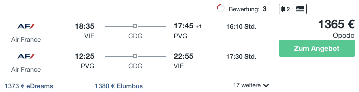 Travel DEalz VIE PVG Air France