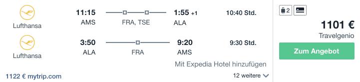 Travel Dealz AMS ALA Lufthansa