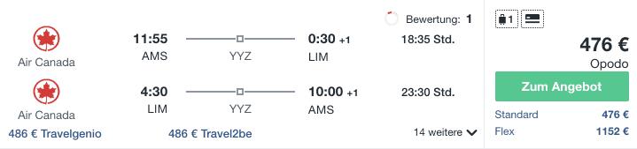 Travel Dealz AMS LIM Air Canada