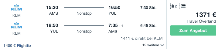 Travel Dealz AMS YUL KLM