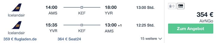 Travel Dealz AMS YVR Icelandair
