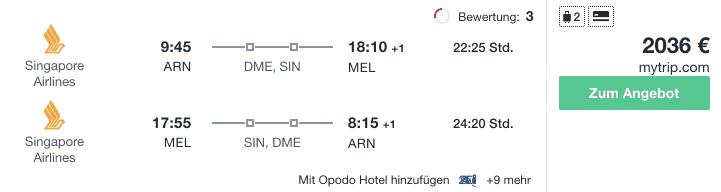 Travel Dealz ARN MEL Singapore Airlines