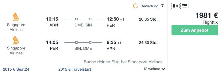 Travel Dealz ARN PER Singapore Airlines