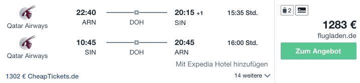 Travel Dealz ARN SIN Qatar Airways