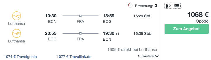 Travel Dealz BCN BOG Lufthansa