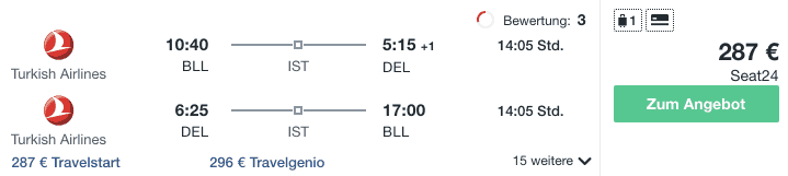 Travel Dealz BLL DEL Turkish Airlines