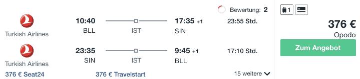 Travel Dealz BLL SIN Turkish Airlines