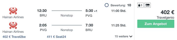 Travel Dealz BRU PVG Hainan Airlines