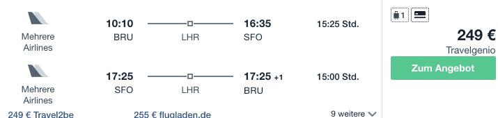 Travel Dealz BRU SFO Virgin Atlantic