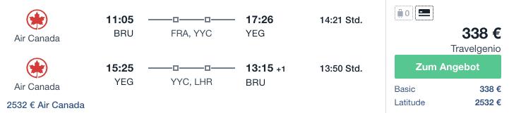 Travel Dealz BRU YEG Air Canada