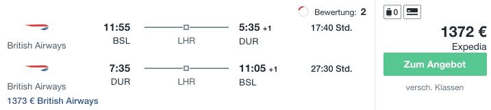 Travel Dealz BSL DUR British Airways