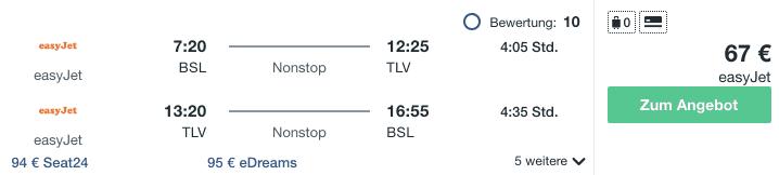 Travel Dealz BSL TLV Easyjet