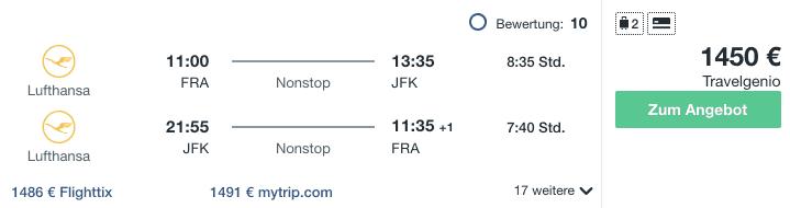 Travel Dealz FRA JFK Lufthansa