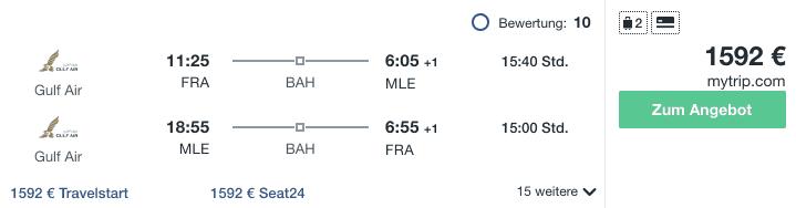 Travel Dealz FRA MLE Gulf Air
