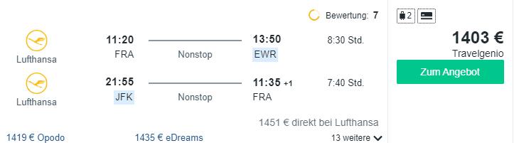 Travel Dealz FRA NYC Lufthansa Business