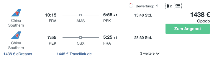 Travel Dealz FRA PEK China Southern