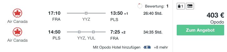 Travel Dealz FRA PLS Air Canada