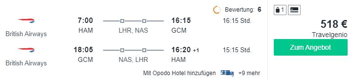 Travel Dealz HAM GCM British Airways