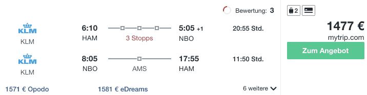 Travel Dealz HAM NBO KLM 1
