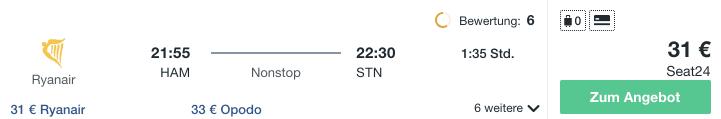 Travel Dealz HAM STN Ryanair
