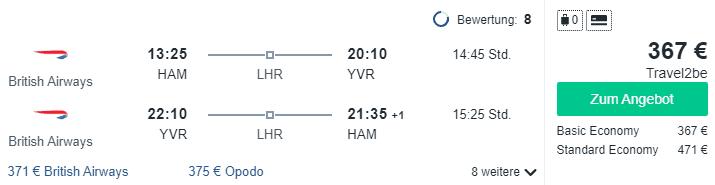Travel Dealz HAM YVR British Airways 1