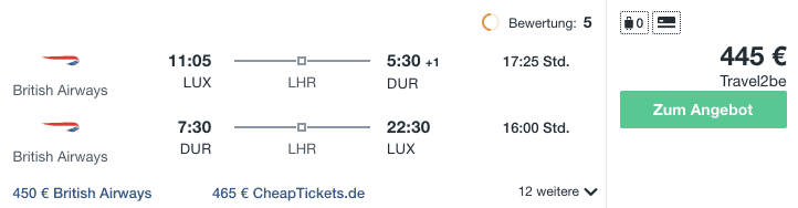 Travel Dealz LUX DUR British Airways