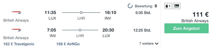 Travel Dealz LUX INV British Airways