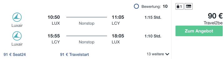 Travel Dealz LUX LCY Luxair