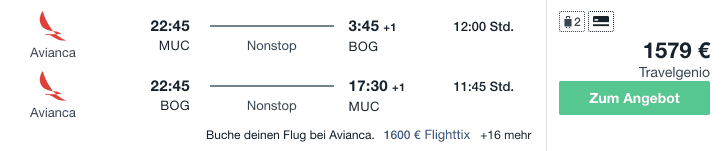 Travel Dealz MUC BOG Avianca