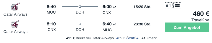 Travel Dealz MUC CNX Qatar Airways