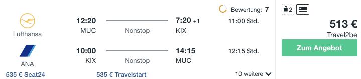 Travel Dealz MUC KIX Lufthansa