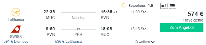 Travel Dealz MUC PVG Lufthansa