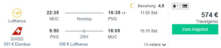 Travel Dealz MUC PVG Lufthansa