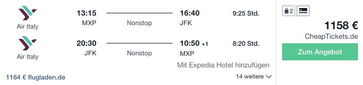 Travel Dealz MXP JFK Air Italy
