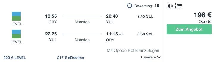 Travel Dealz ORY YUL Level