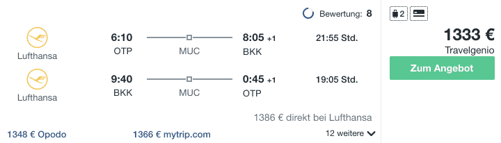 Travel Dealz OTP BKK Lufthansa