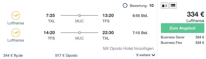 Travel Dealz TXL TFS Lufthansa