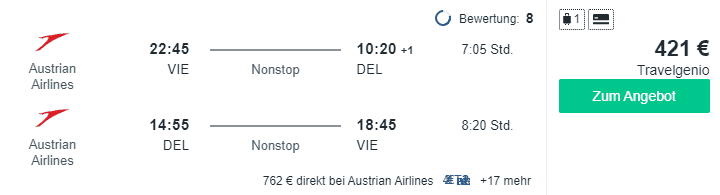 Travel Dealz VIE DEL Austrian Airlines