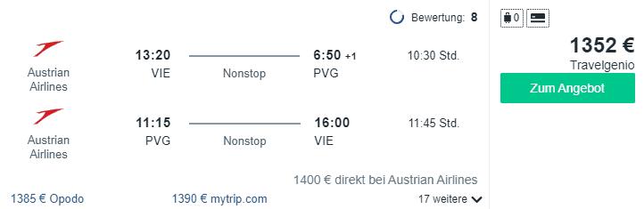Travel Dealz VIE PVG Austrian