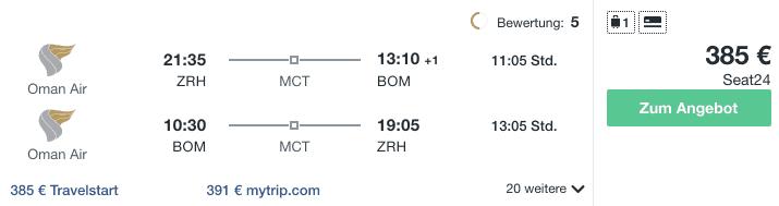 Travel Dealz ZRH BOM Oman Air