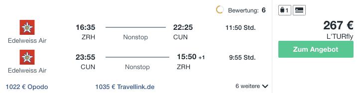 Travel Dealz ZRH CUN Edelweiss