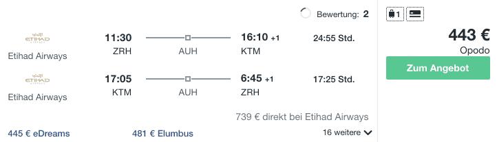 Travel Dealz ZRH KTM Etihad